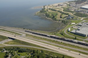 Photo aérienne - Baie de Beauport - Gare de triage CN - boul. d'Estimauvile