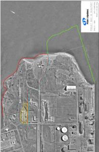 Ligne verte: projet d'agrandissement du Port de Québec en 2006 (610m x 375m); ligne rouge: futur site récréotouristique (legs fédéral pour le 400e de Québec)
